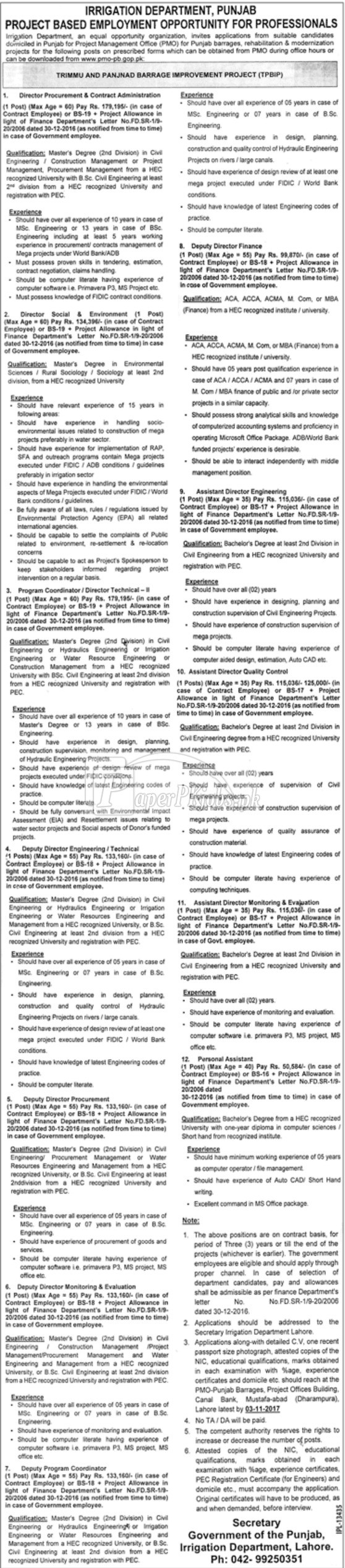 Irrigation Department Government of Punjab Jobs 2017