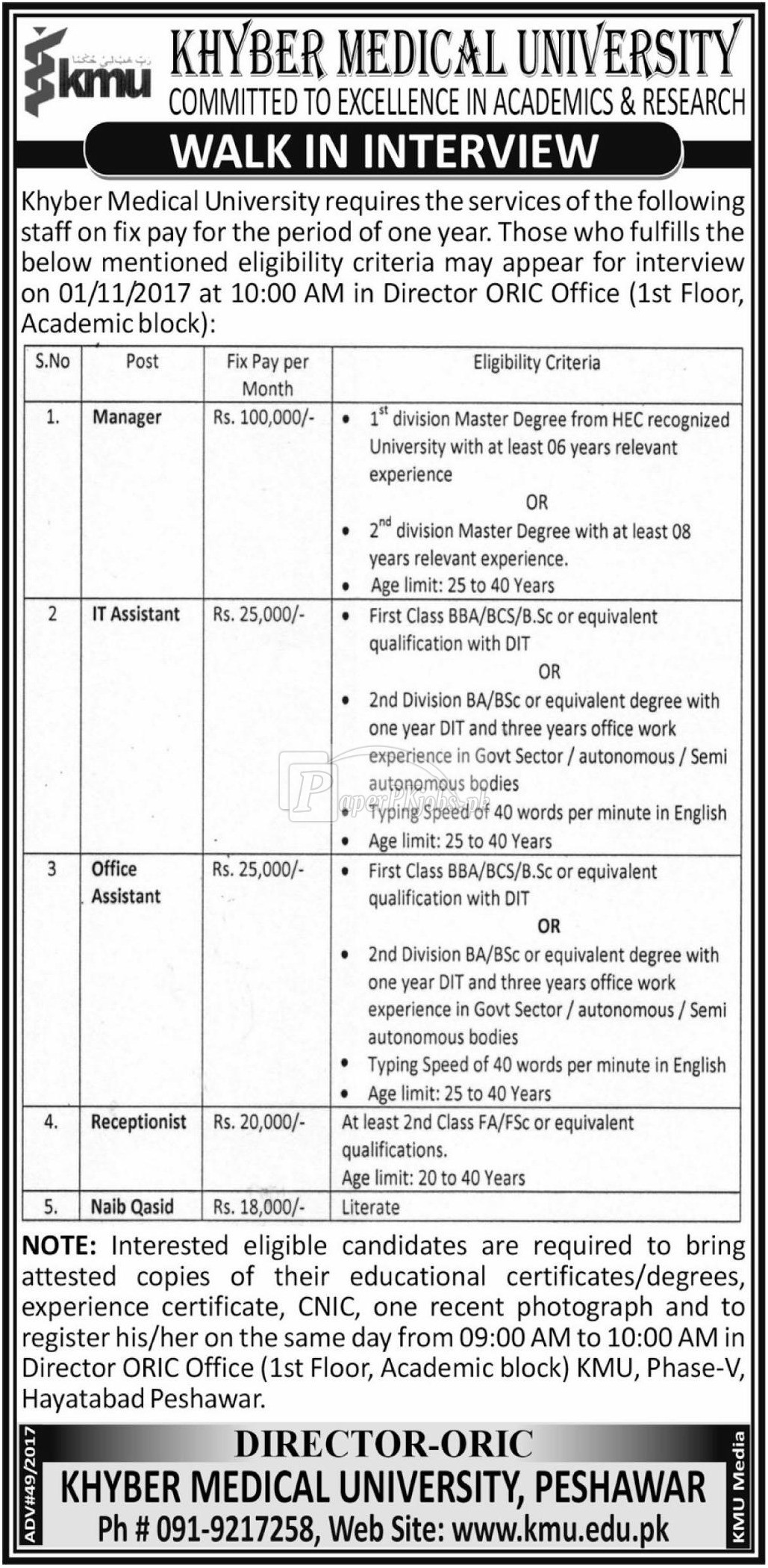 Khyber Medical University KMU Peshawar Jobs 2017
