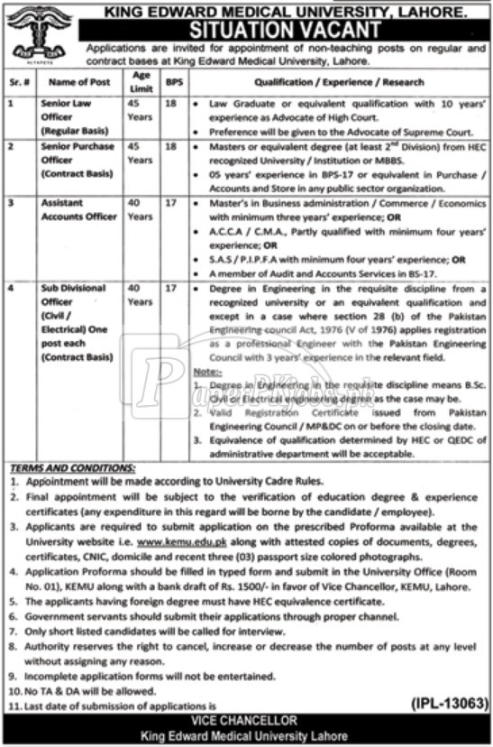 King Edward Medical University KEMU Lahore Jobs 2017