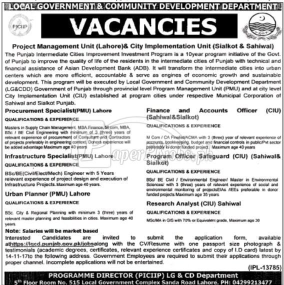 Local Government & Community Development Department Punjab Jobs 2017