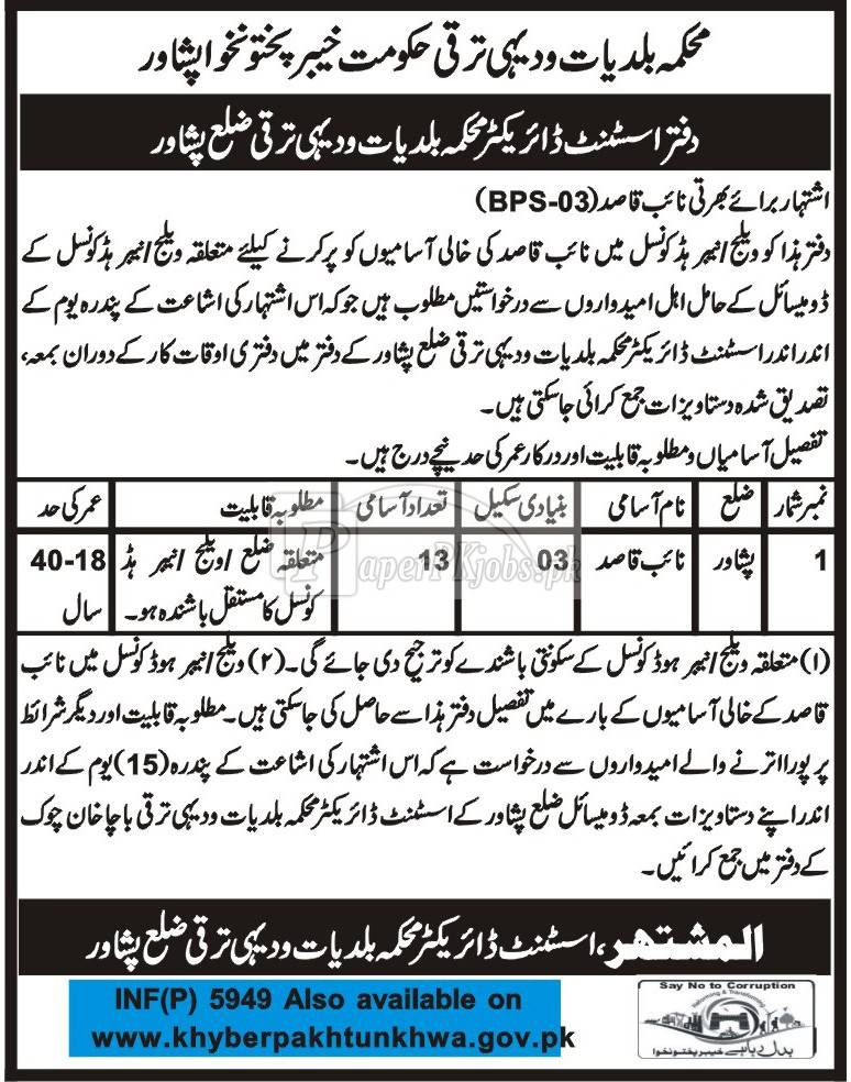 Local Government & Rural Development Department Peshawar Jobs 2017