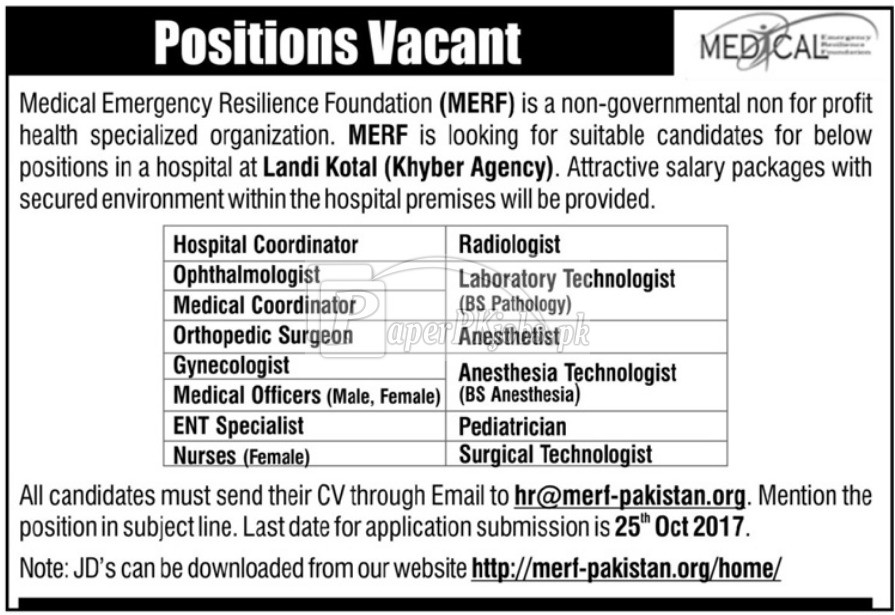 Medical Emergency Resilience Foundation MERF Jobs 2017