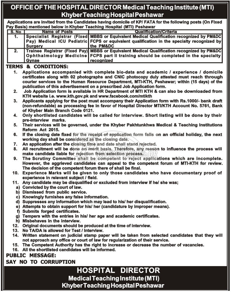 Medical Teaching Institution Khyber Teaching Hospital MTI KTH Peshawar Jobs 2017