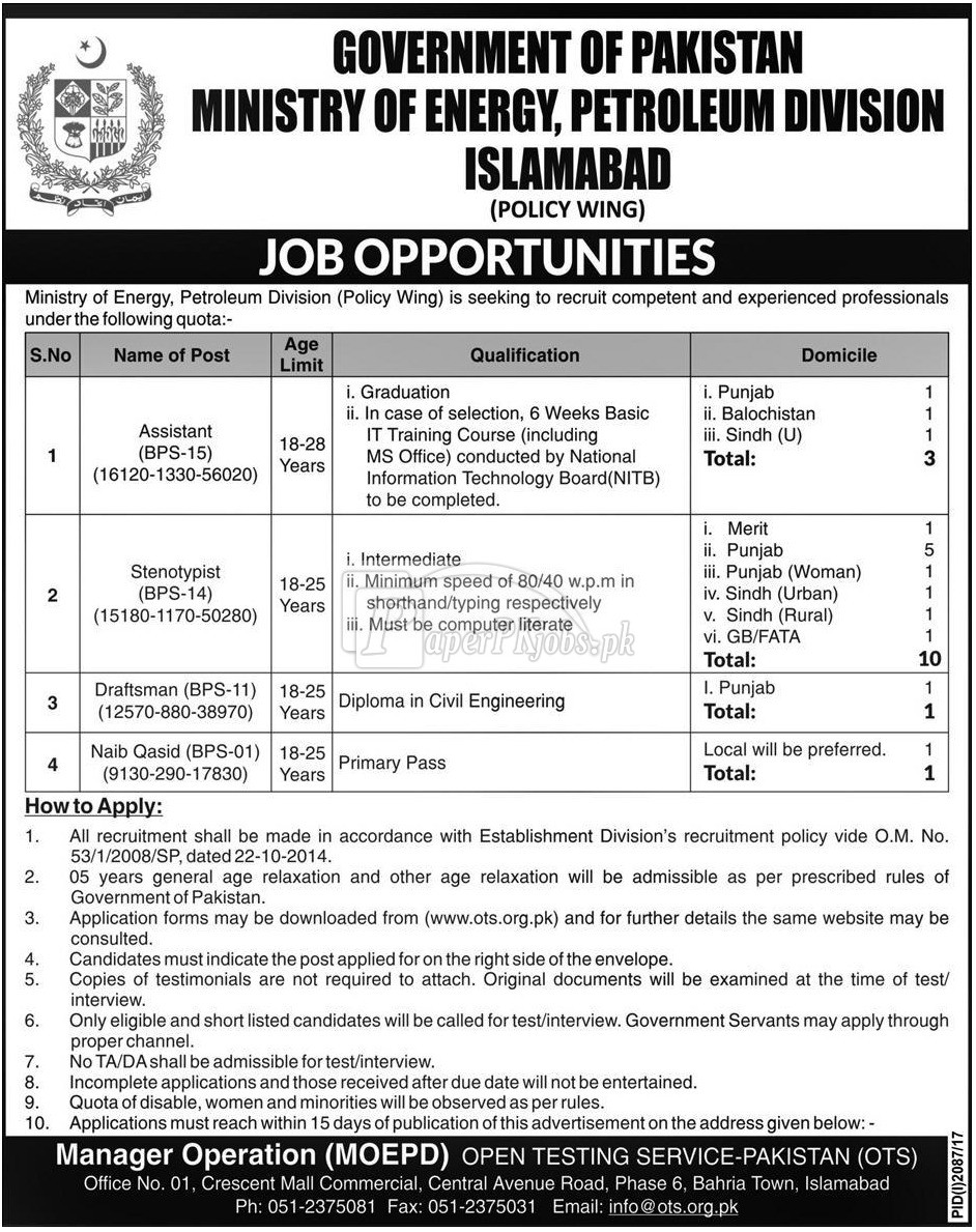 Ministry of Energy Petroleum Division Islamabad OTS Jobs 2017