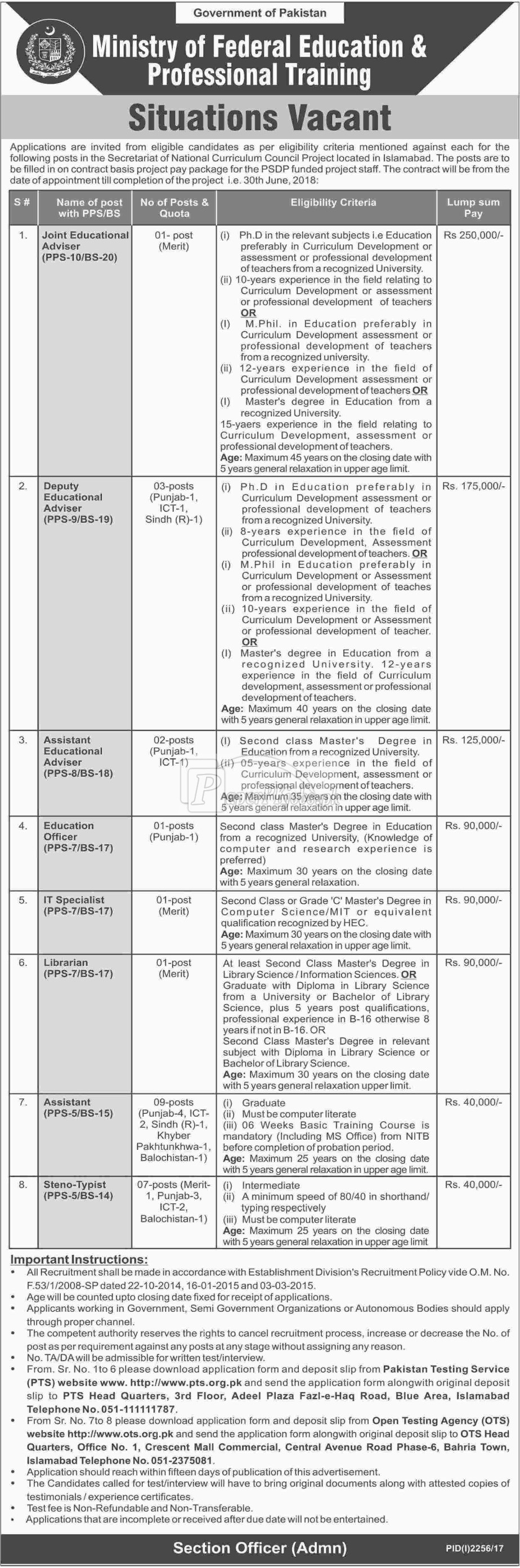 Ministry of Federal Education & Professional Training Islamabad OTS Jobs 2017