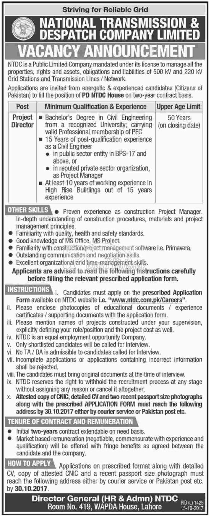 National Transmission & Despatch Company NTDC Jobs 2017
