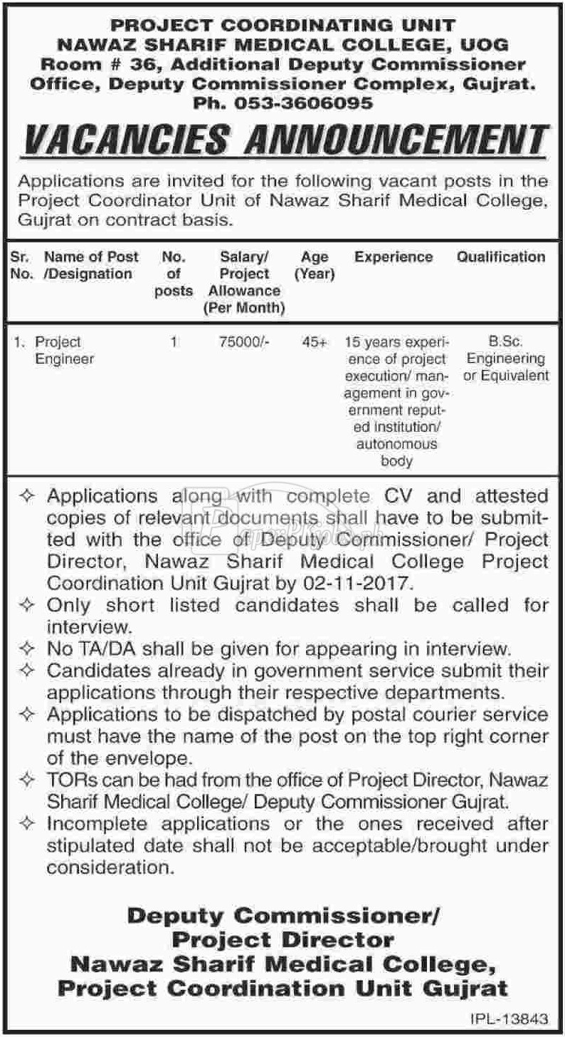 Nawaz Sharif Medical College Gujrat Jobs 2017