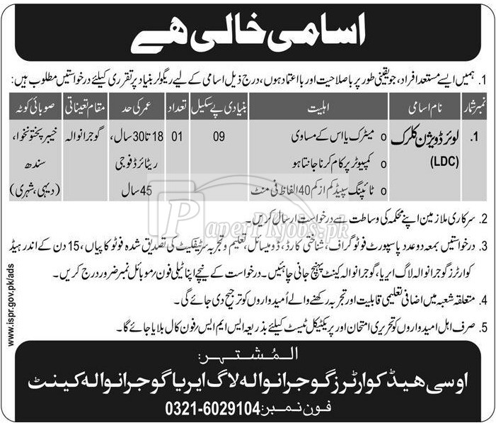 OC Headquarters Gujranwala Log Area Gujranwala Cantt Jobs 2017