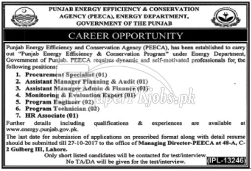 PEECA Energy Department Government of Punjab Jobs 2017