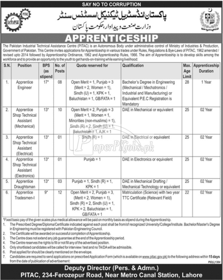 PITAC Ministry of Industries & Production Jobs 2017