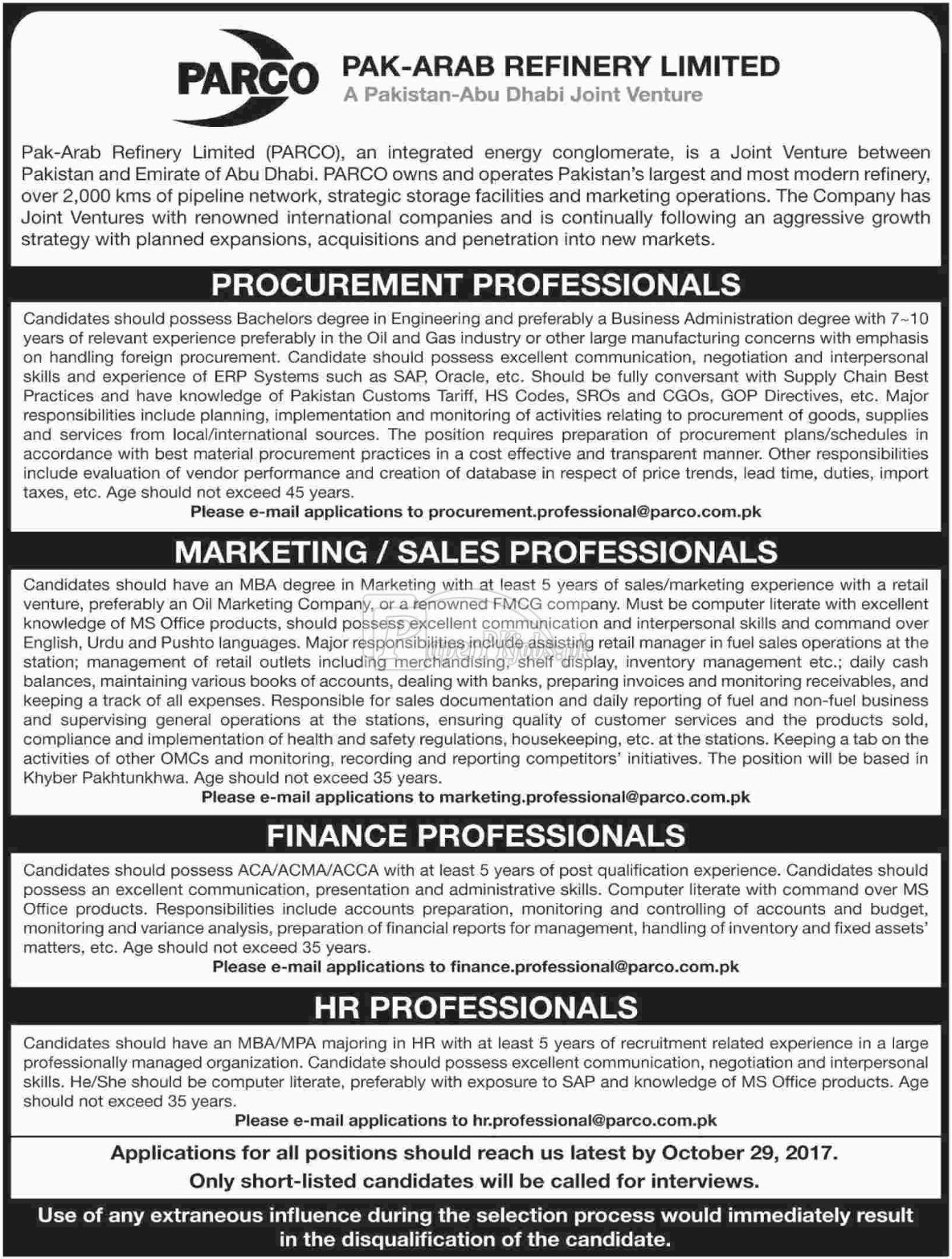 Pak Arab Refinery Company Limited PARCO Jobs 2017