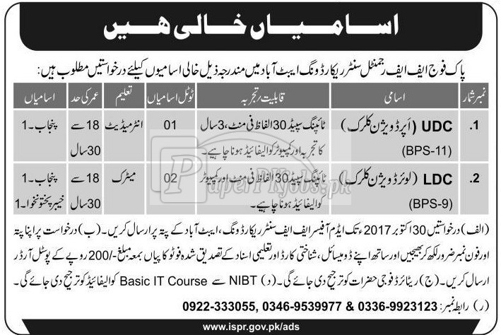 Pak Army FF Regimental Center Record Wing Abbottabad Jobs 2017