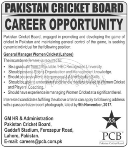 Pakistan Cricket Board PCB Jobs 2017
