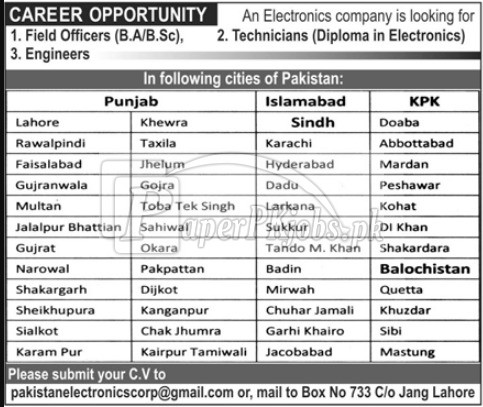Pakistan Electronics Corporation Jobs 2017