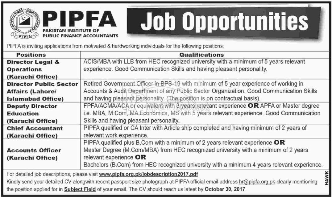 Pakistan Institute of Public Finance Accountants PIPFA Jobs 2017