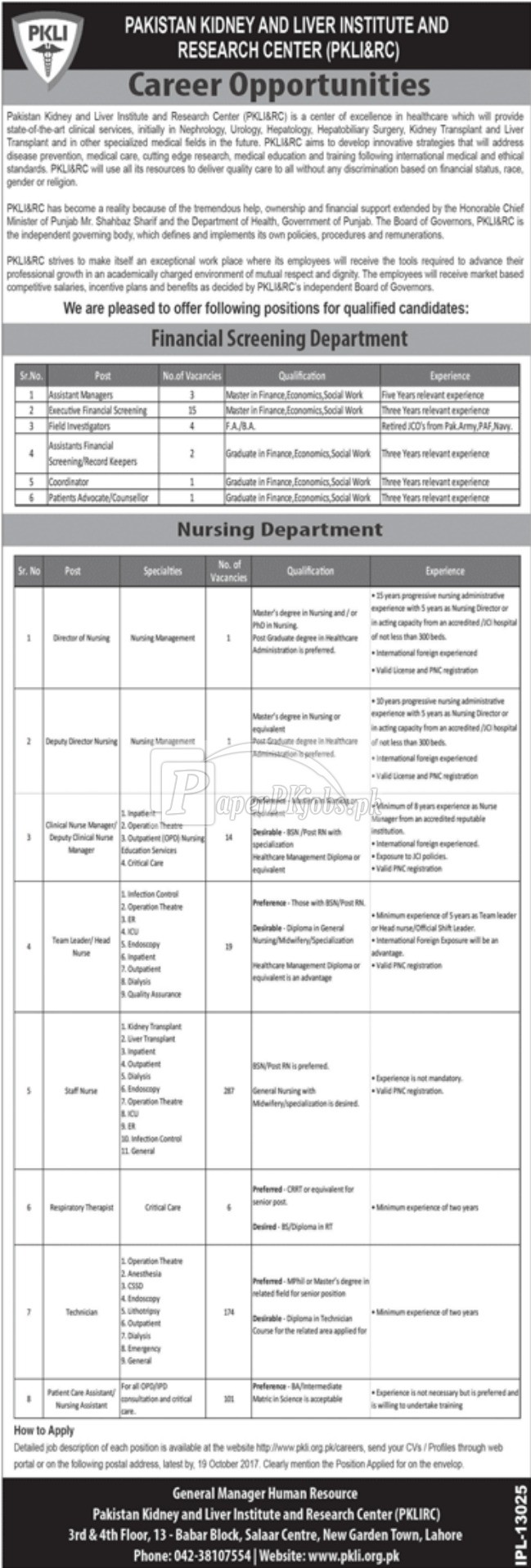Pakistan Kidney and Liver Institute and Research Center PKLI&RC Jobs 2017