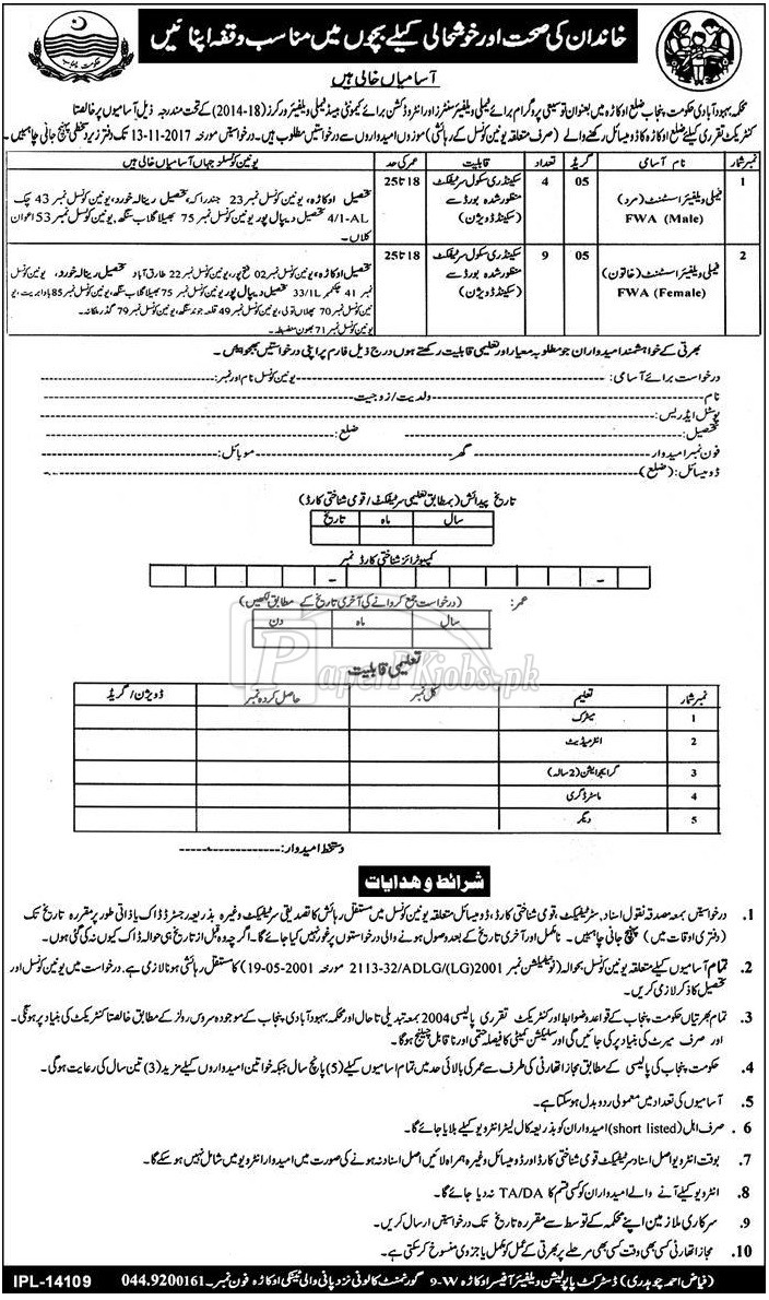 Population Welfare Department Okara Government of Punjab Jobs 2017