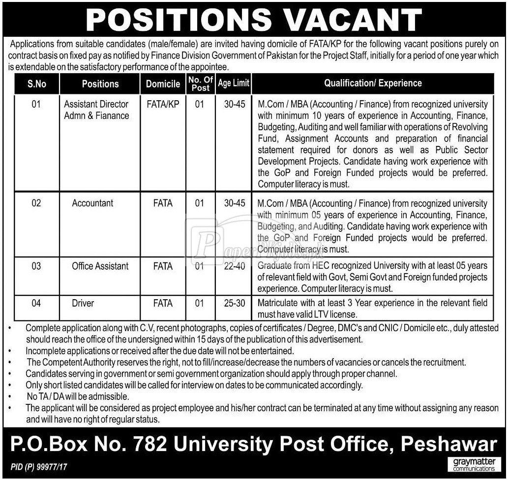 Public Sector Organization P.O. Box 782 Peshawar Jobs 2017