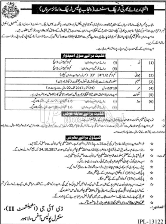 Punjab Police Traffic Wardens Service Jobs 2017