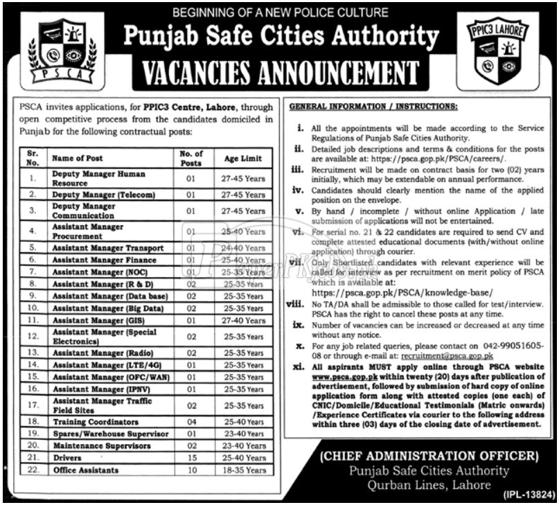 Punjab Safe Cities Authority PSCA Lahore Jobs 2017