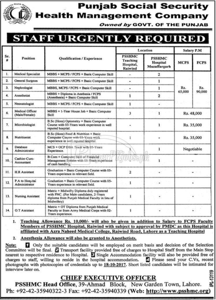 Punjab Social Security Health Management Company PSSHMC Jobs 2017