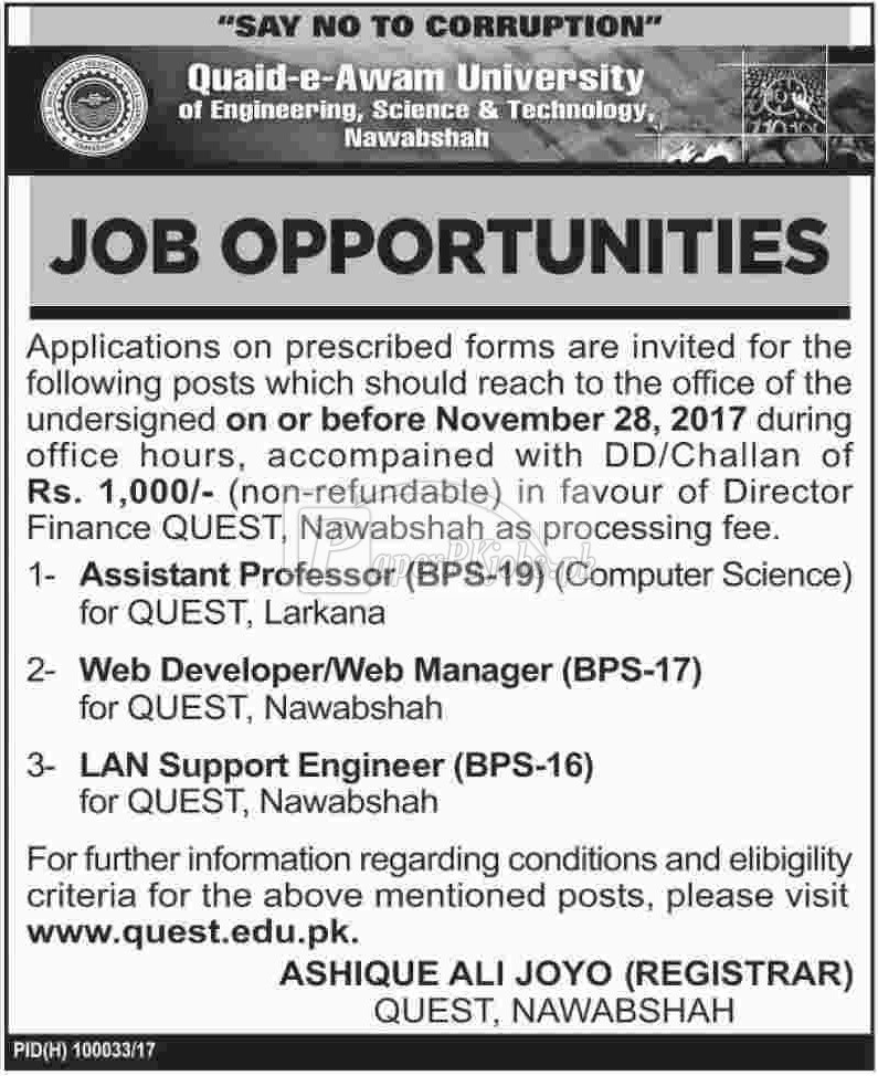 Quaid-e-Awam University of Engineering Science & Technology QUEST Nawabshah Jobs 2017
