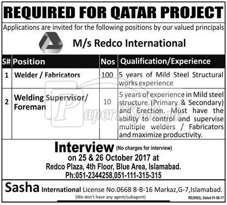 Redco International Qatar Jobs 2017