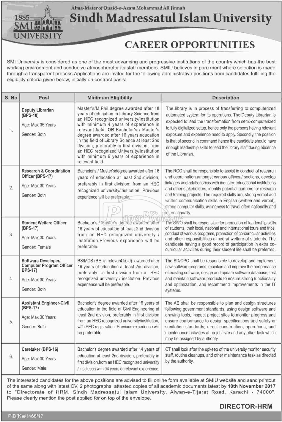 Sindh Madressatul Islam SMI University Karachi Jobs 2017