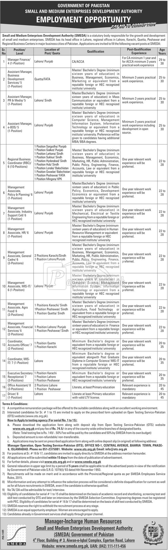 Small & Medium Enterprises Development Authority SMEDA OTS Jobs 2017