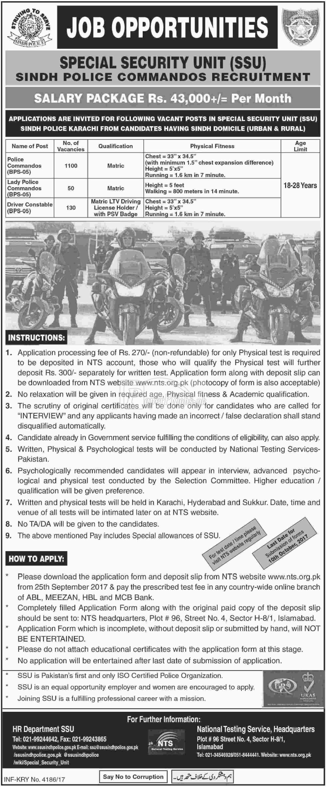 Special Security Unit SSU Sindh Police Karachi NTS Jobs 2017