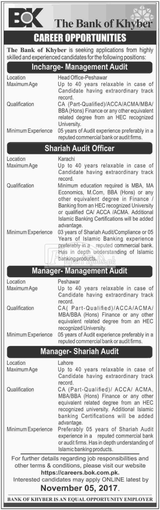 The Bank of Khyber BOK Jobs 2017