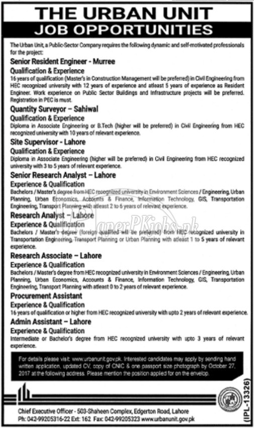 The Urban Unit Government of Punjab Jobs 2017
