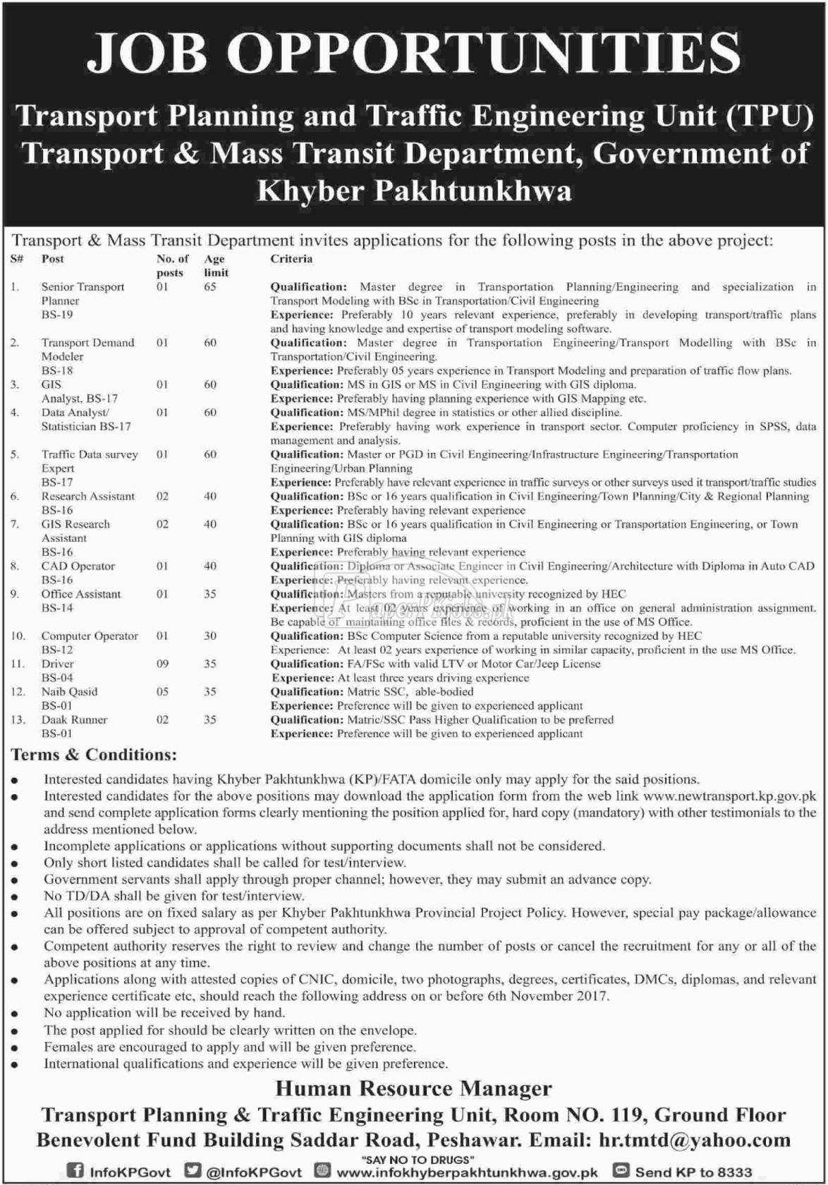 Transport & Mass Transit Department Peshawar KPK Jobs 2017