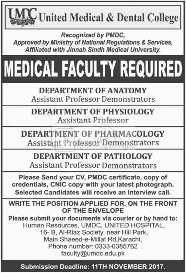 United Medical & Dental College UMDC Karachi Jobs 2017