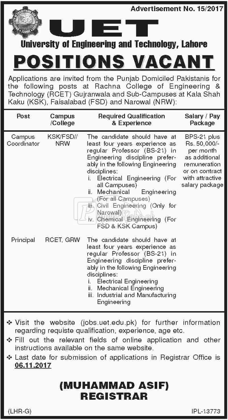 University of Engineering & Technology UET Lahore Jobs 2017