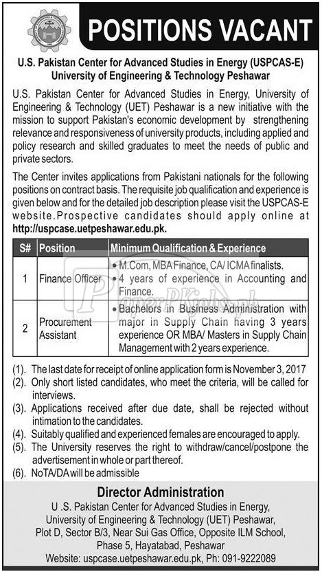 University of Engineering & Technology UET Peshawar Jobs 2017