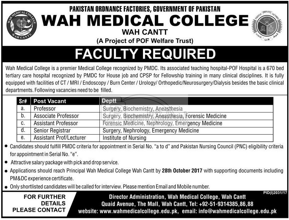 Wah Medical College Wah Cantt Jobs 2017
