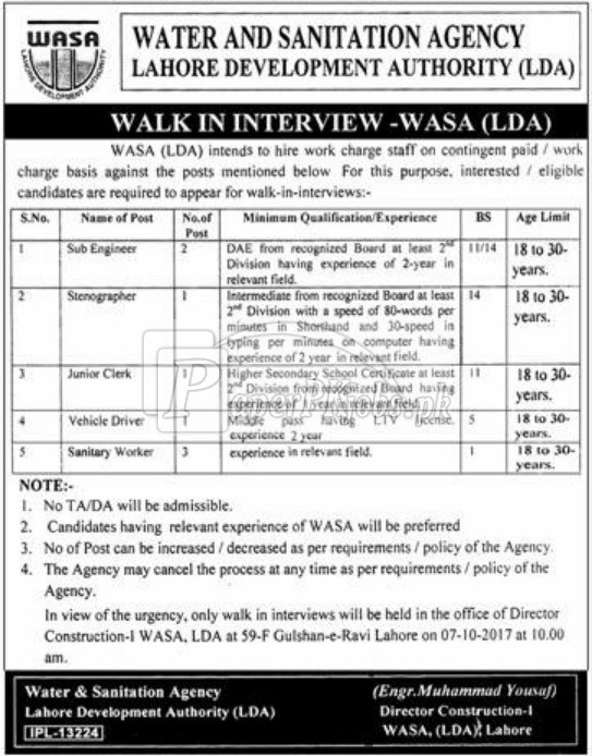 Water & Sanitation Agency WASA LDA Jobs 2017