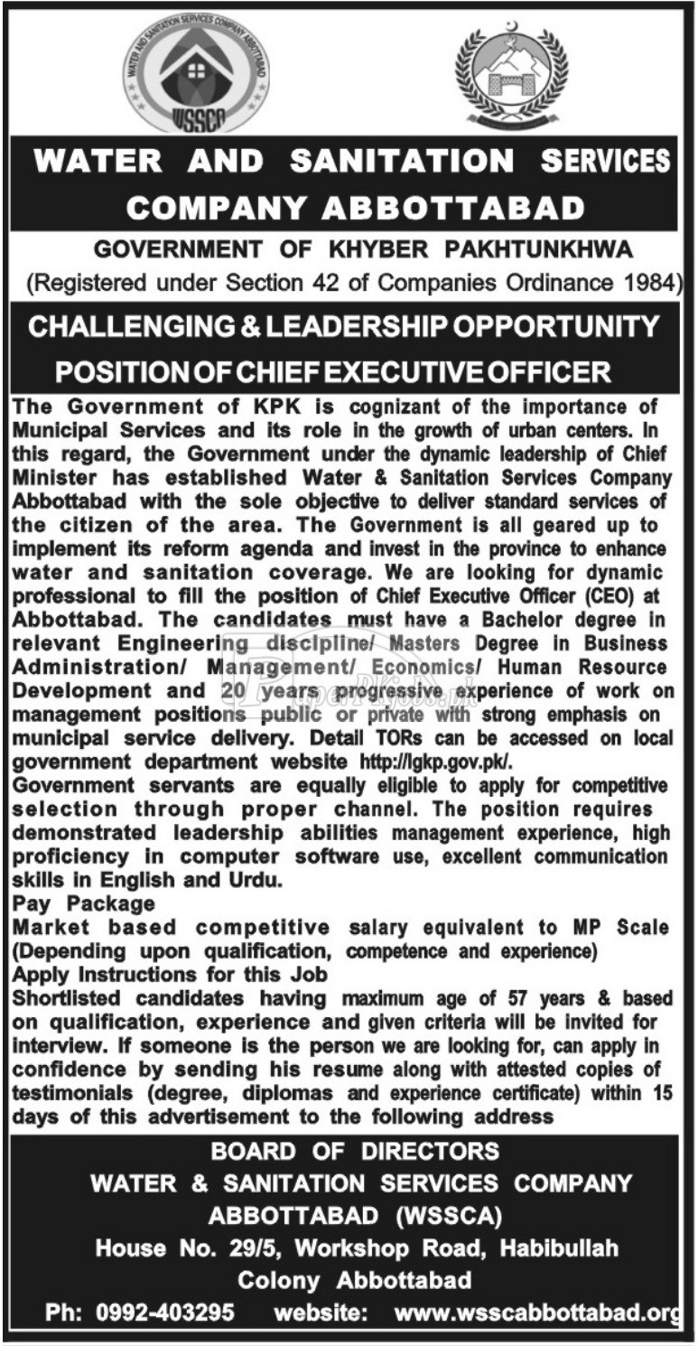 Water & Sanitation Services Company WSSC Abbottabad Jobs 2017