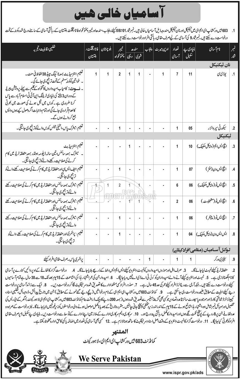 603 Base Workshop EME Lahore Cantt Jobs 2017