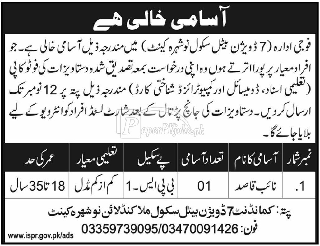 7 Division Beetle School Nowshera Cantt Jobs 2017