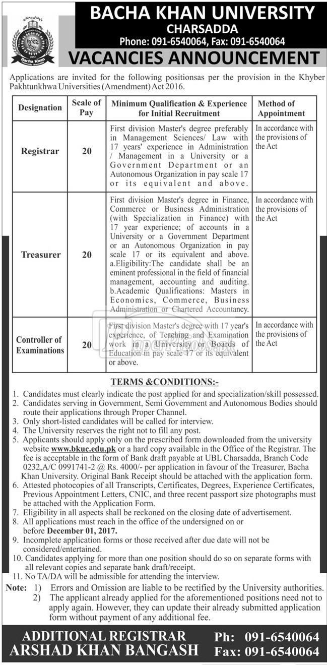 Bacha Khan University Charsadda BKUC Jobs 2017