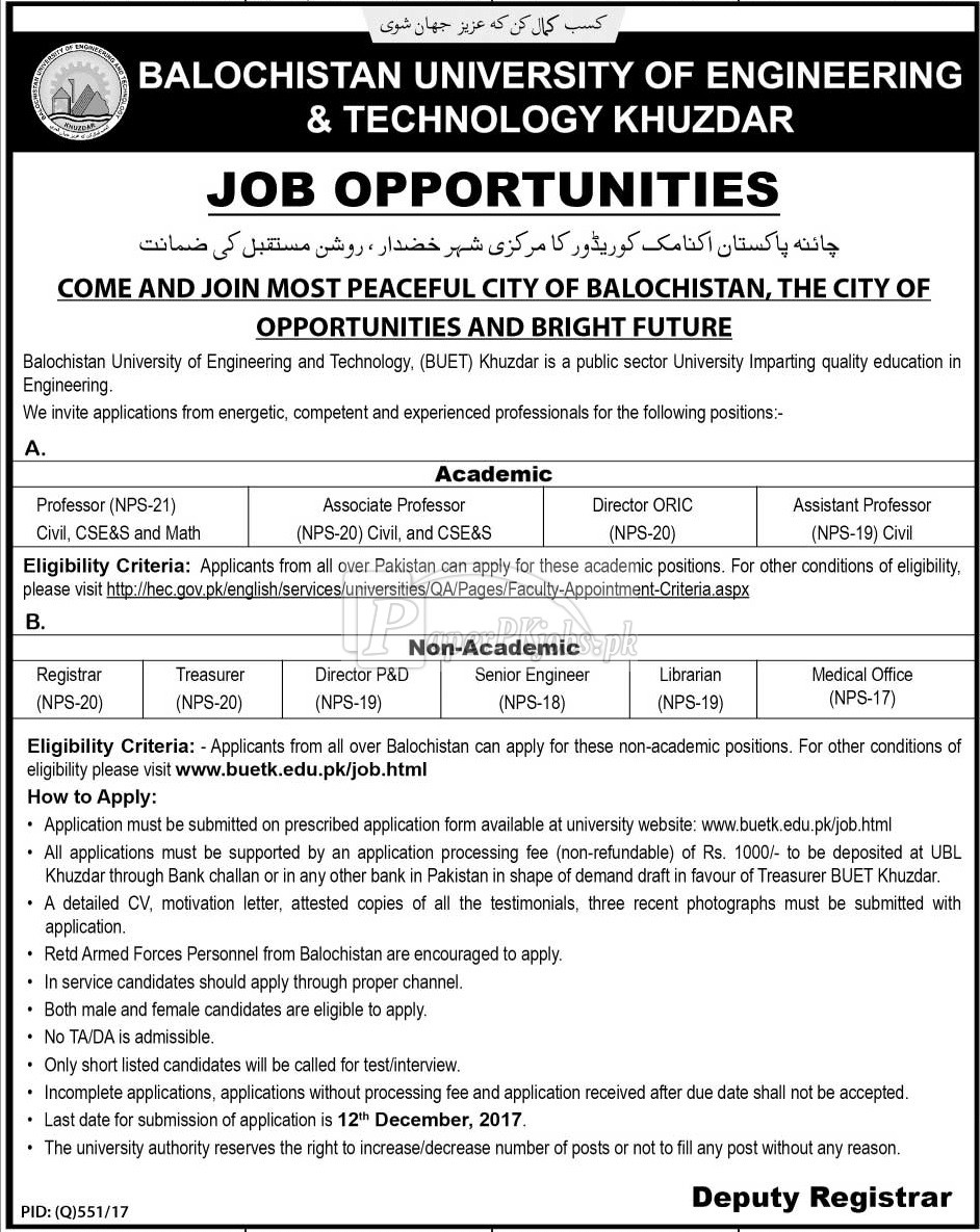 Balochistan University of Engineering & Technology BUET Khuzdar Jobs 2017