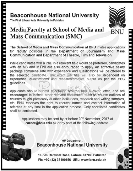 Beaconhouse National University BNU Lahore Jobs 2017
