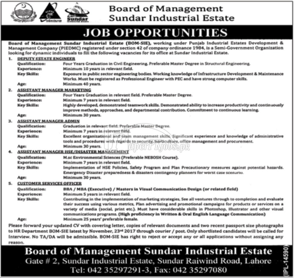Board of Management Sundar Industrial Estate BOM-SIE Lahore Jobs 2017