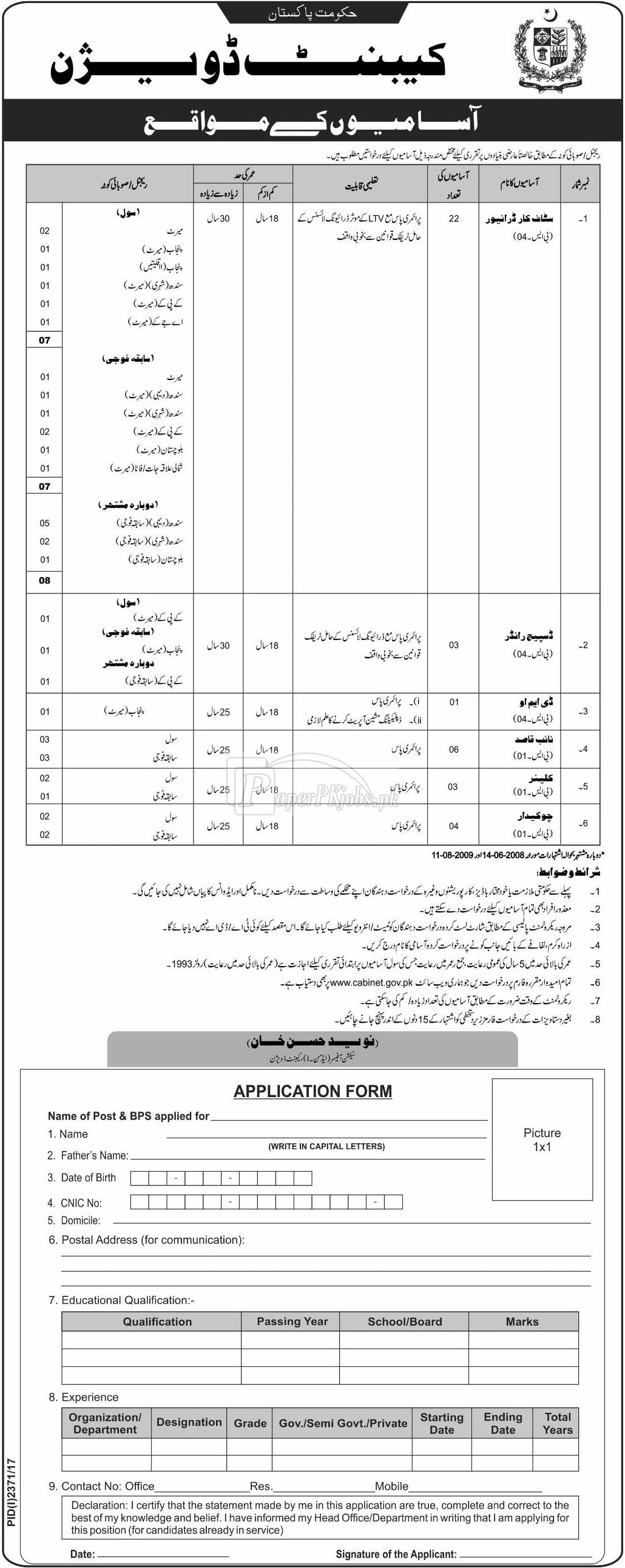Cabinet Division Government of Pakistan Jobs 2017