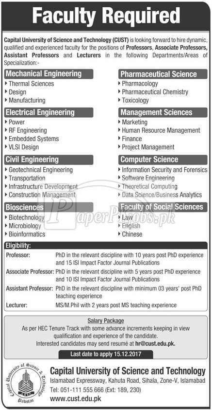 Capital University of Science & Technology CUST Islamabad Jobs 2017