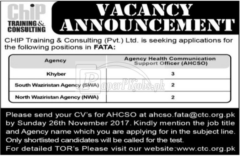 Chip Training & Consulting CTC FATA Jobs 2017