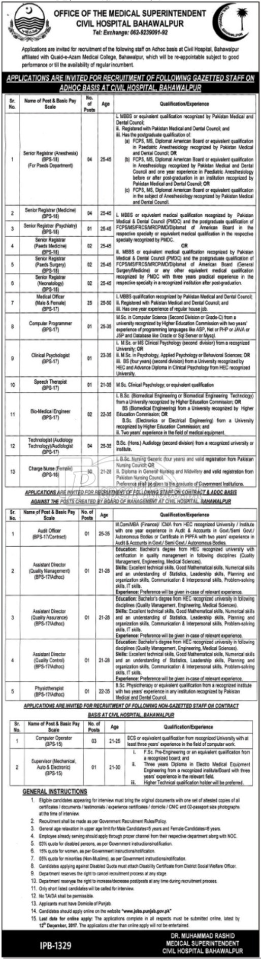 Civil Hospital Bahawalpur Jobs 2017