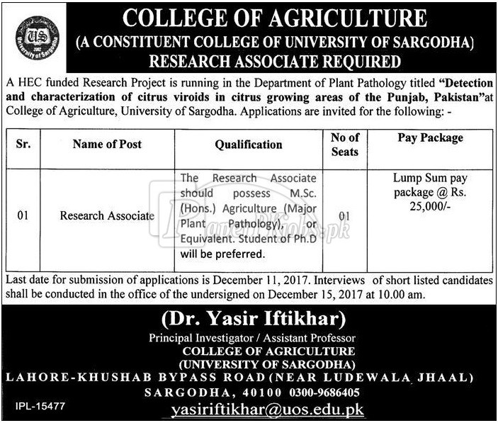 College of Agriculture Sargodha Jobs 2017